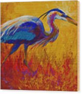 Blue Heron Wood Print