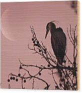 The Heron And The Moon Wood Print