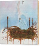 Blue Heron Nesting Wood Print