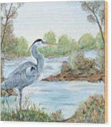 Blue Heron Of The Marshlands Wood Print