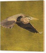Blue Heron On Gold Wood Print