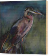 Blue Heron Painting II Wood Print by Don  Wright