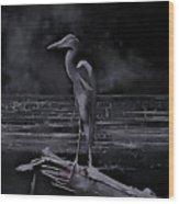 Blue Heron Pose Wood Print