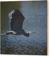 Blue Heron Skies  Wood Print