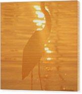 Blue Heron Sunrise Wood Print