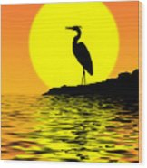 Blue Heron Sunset Wood Print