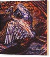 Blue Heron Swirl Wood Print