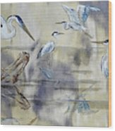 Great Blue Herons Chilling Wood Print
