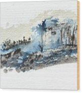 Blue Hillside Wood Print