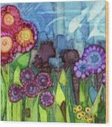 Blue Hoo Hoo Skies Wood Print