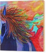 Blue Horse In Red Canyon Wood Print