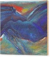Blue Horses 2 Wood Print
