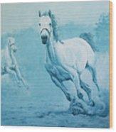 Blue Horses Wood Print