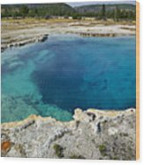 Blue Hot Springs Yellowstone National Park Wood Print by Garry Gay