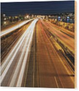 Blue Hour Freeway Light Trails Wood Print