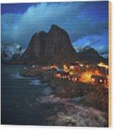 Blue Hour In Lofoten Wood Print