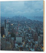 Blue Hour In New York Wood Print
