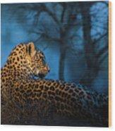 Blue Hour Leopard Wood Print