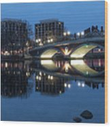 Blue Hour On The Charles Wood Print