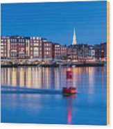 Blue Hour Over Portsmouth New Hampshire Wood Print