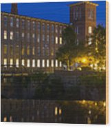 Blue Hour Over The Cocheco Mills Dover New Hampshire Wood Print
