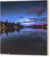 Blue Hour Reflected Wood Print