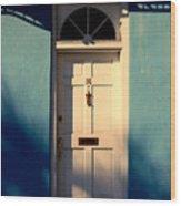 Blue House Door Wood Print
