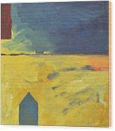 Blue House Gold Field Wood Print