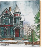 Blue House On A Grey Day Wood Print