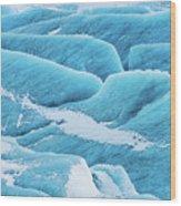 Blue Ice Svinafellsjokull Glacier Iceland Wood Print