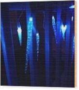 Blue Icicles Wood Print