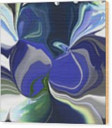 Blue Impression Wood Print