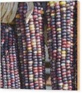 Blue Indian Corn Wood Print