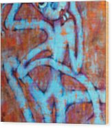 Blue Instinct Wood Print