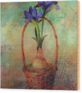 Blue Iris In A Basket Wood Print