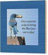 Blue Jay And A Peanut Wood Print
