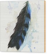 Blue Jay Feather Splash Wood Print by Brandy Woods