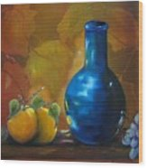 Blue Jug On The Shelf Wood Print