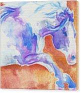 Blue Jumping Paint Wood Print