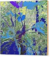 Blue Jungle Wood Print