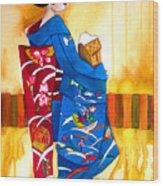 Blue Kimono 2 Wood Print