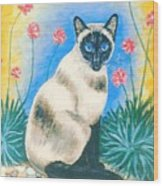 Blue Kitty Wood Print