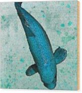 Blue Koi Wood Print