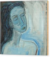 Blue Lady Abstract Wood Print