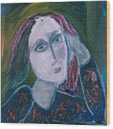Blue Lady  With Red Hair Abstract Wood Print