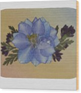 Blue Larkspur And Oregano Pressed Flower Arrangement Wood Print
