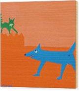 Blue Laughs At Green Cat Wood Print