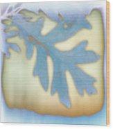 Blue Leaf Wood Print