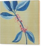 Blue Leaves And Berries Wood Print
