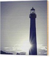 Blue Lighthouse Silhouette Wood Print